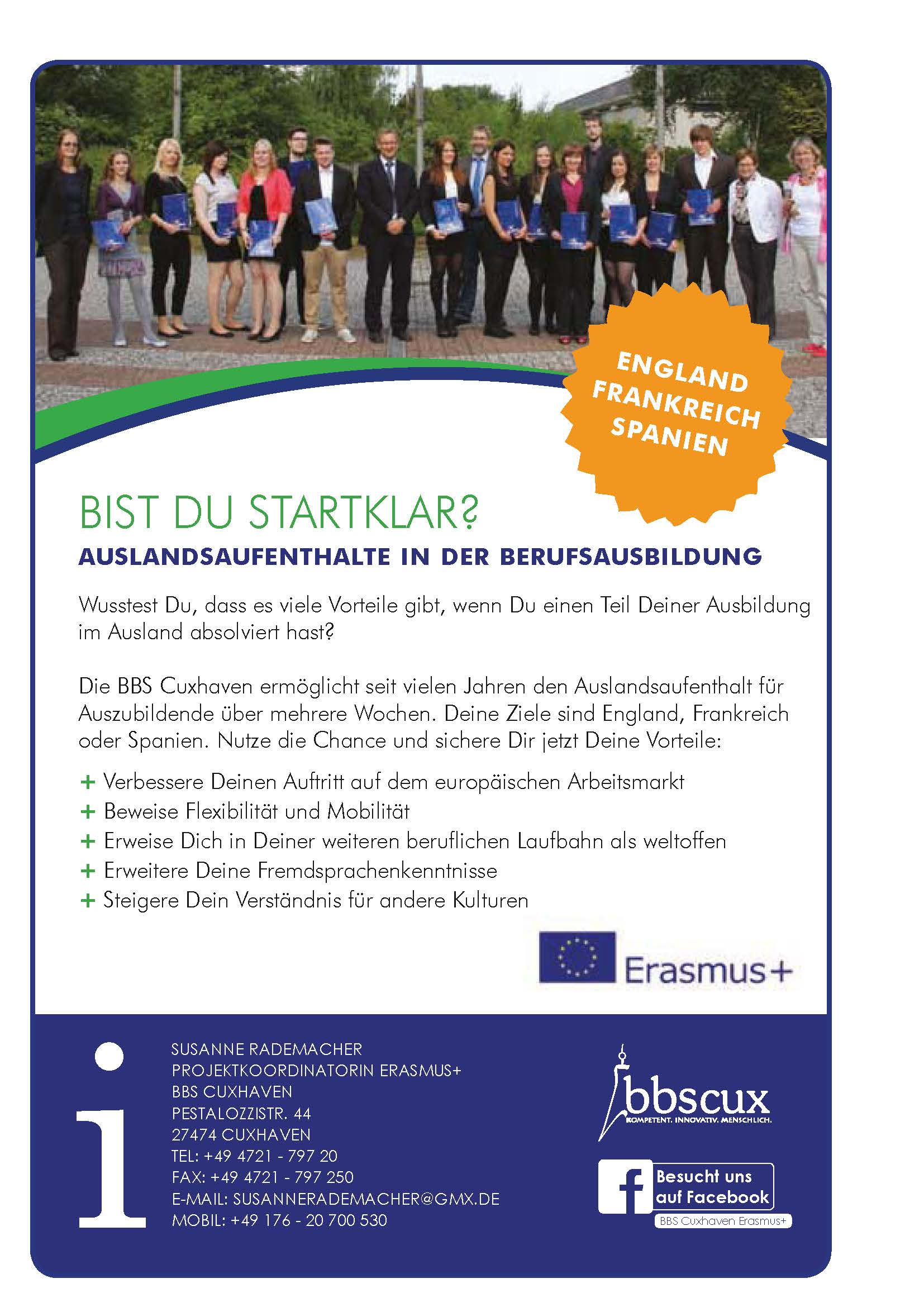Anzeige Erasmus+
