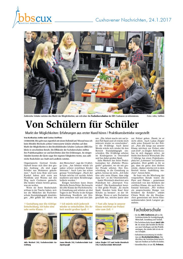 Cuxhavener Nachrichten vom 24.1.2017