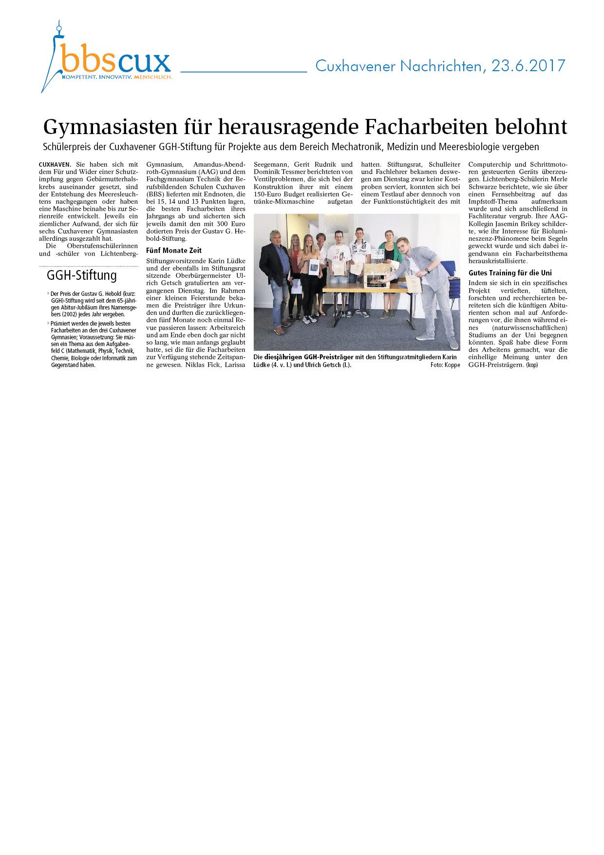 Cuxhavener Nachrichten vom 23.6.2017.