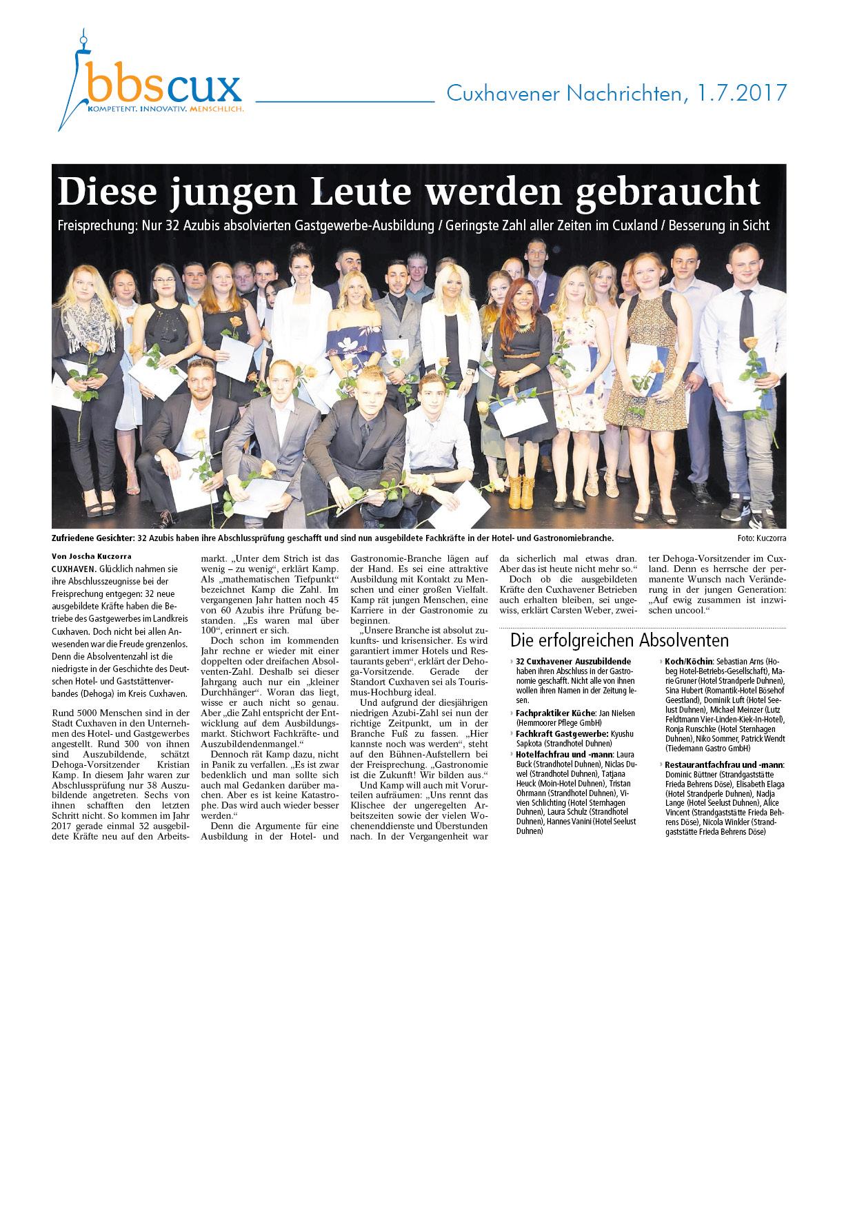 Cuxhavener Nachrichten vom 1.72017.