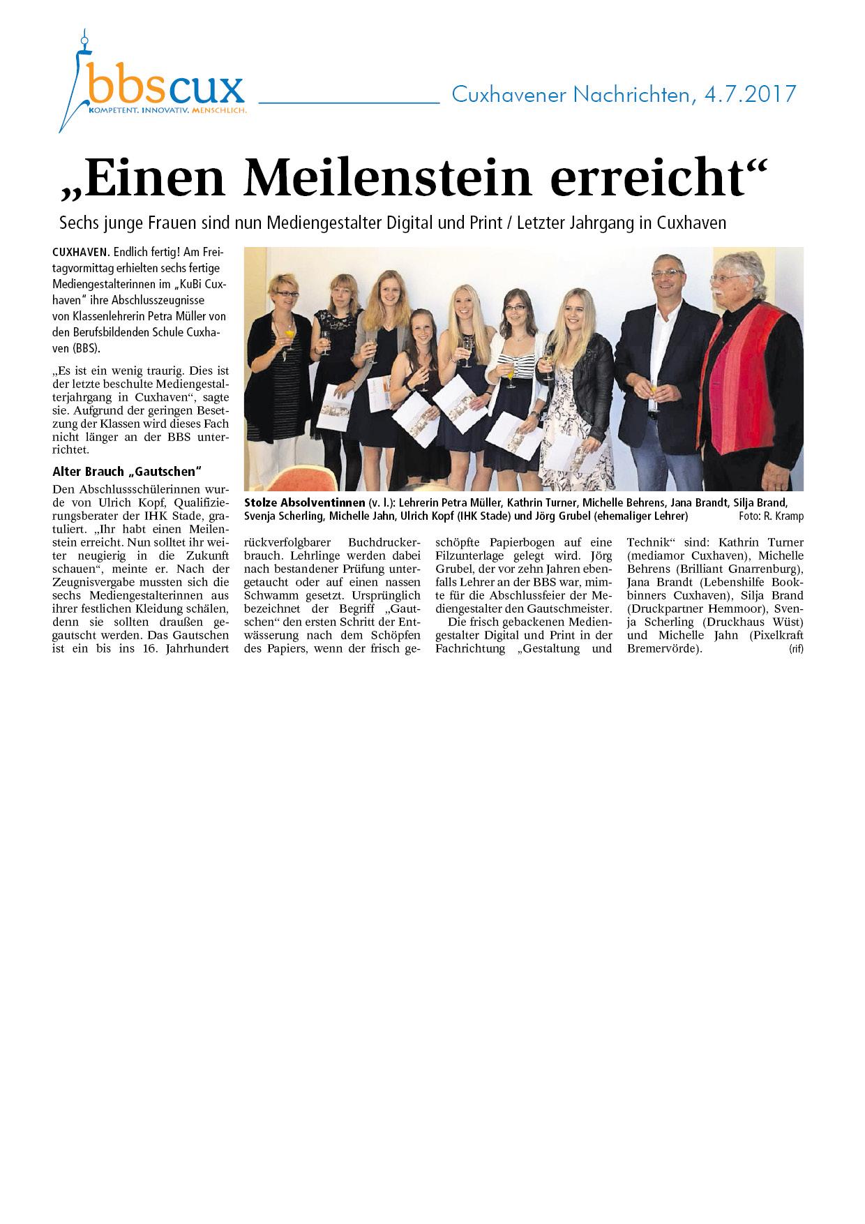 Cuxhavener Nachrichten vom 4.7.2017.